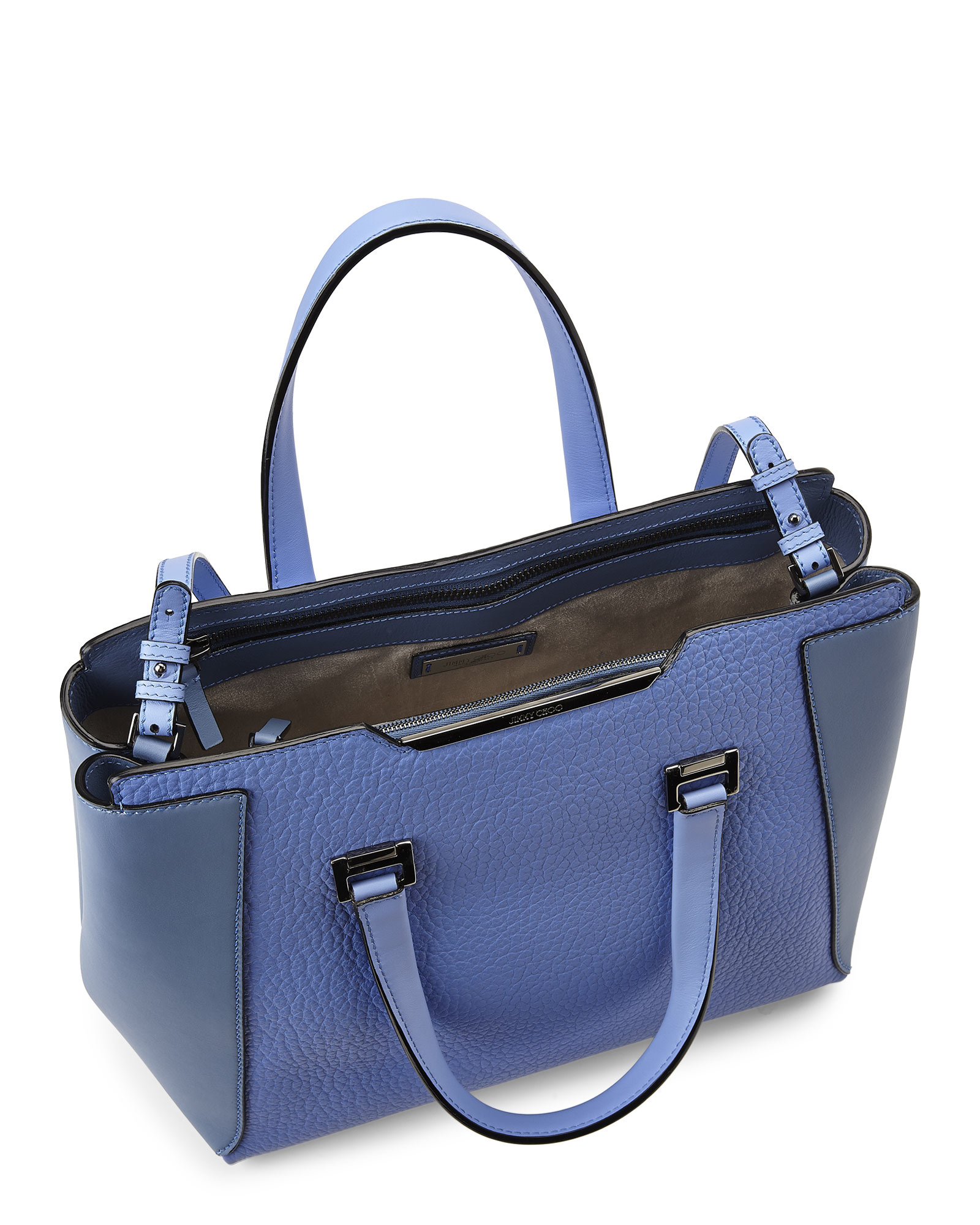 0ee4887ccbf Jimmy Choo Blue Pebbled Leather Alfie L Tote Bag in Blue - Lyst