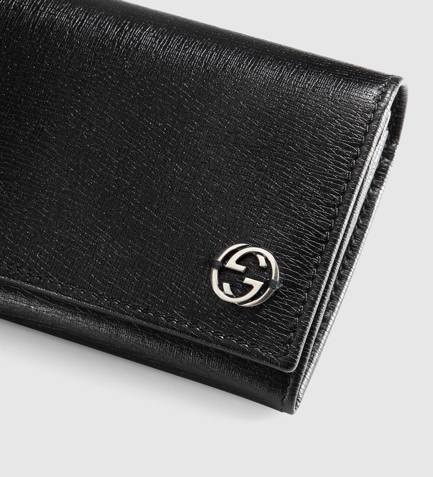 485f85bbdd9 Lyst - Gucci Leather Long Coin Wallet With Printed Interior in Black ...