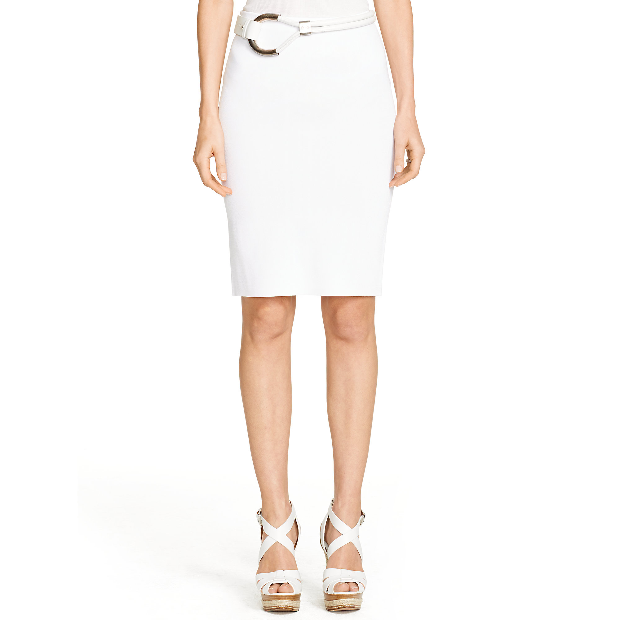 ralph black label pencil skirt in white lyst
