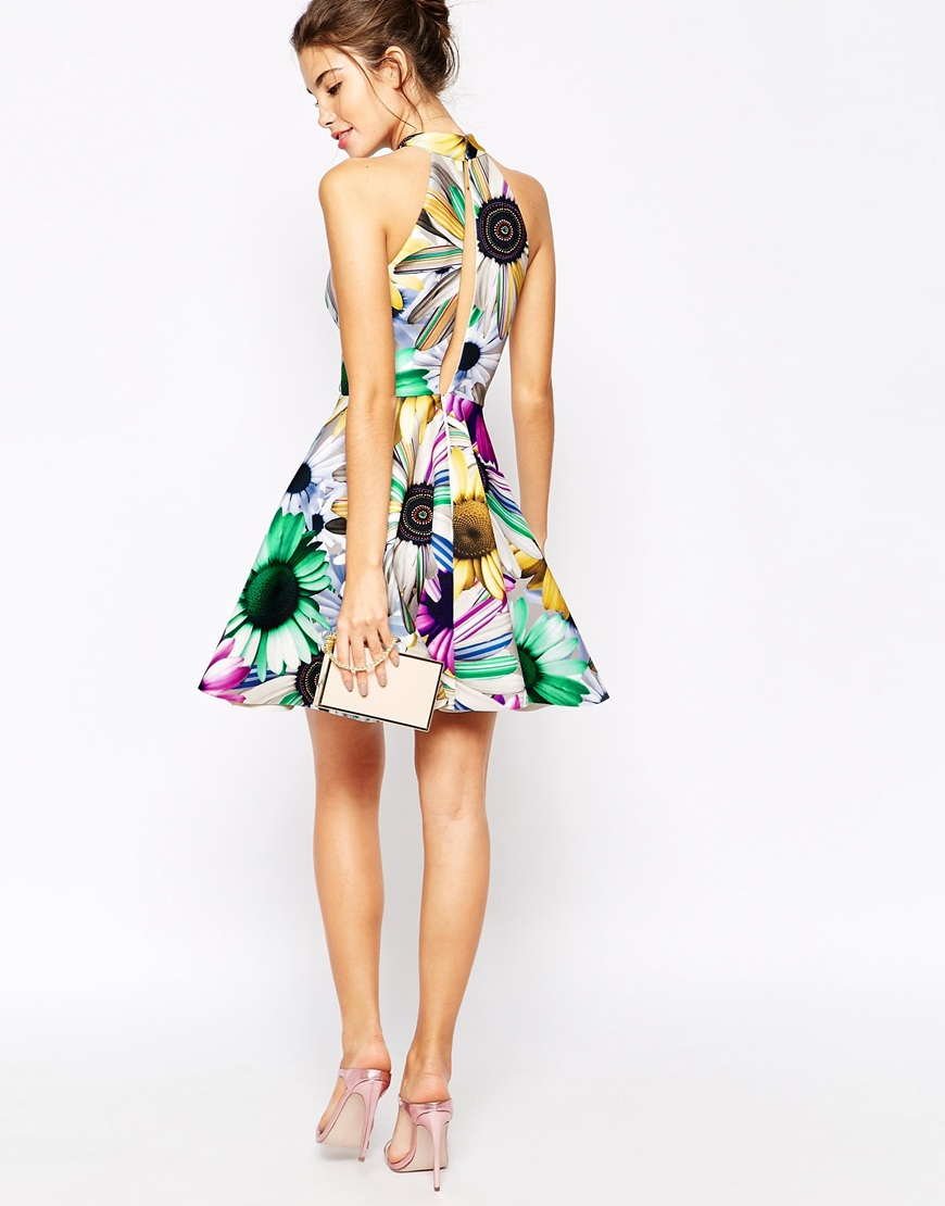 1466a774491ea Lyst - ASOS Premium Digital Daisy Bonded Scuba Skater Dress