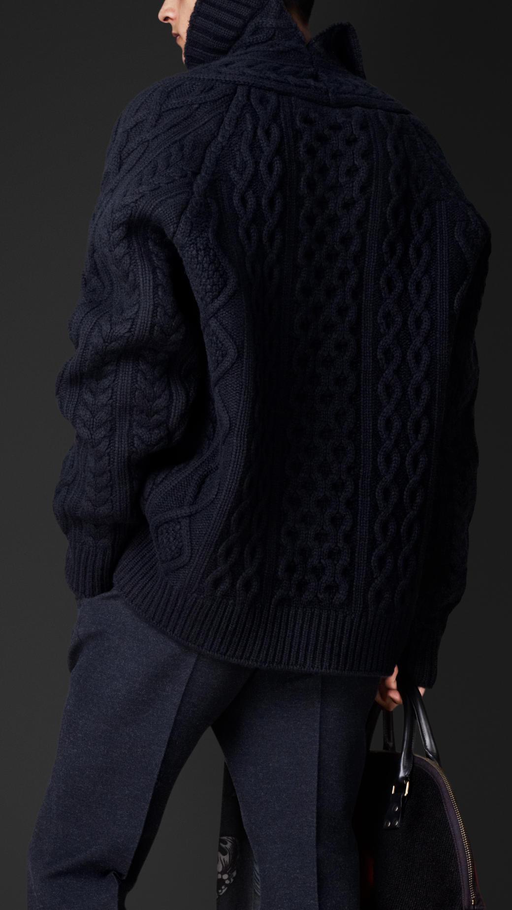 Lyst - Burberry Cashmere Needlepunch Aran Sweater in Black ...
