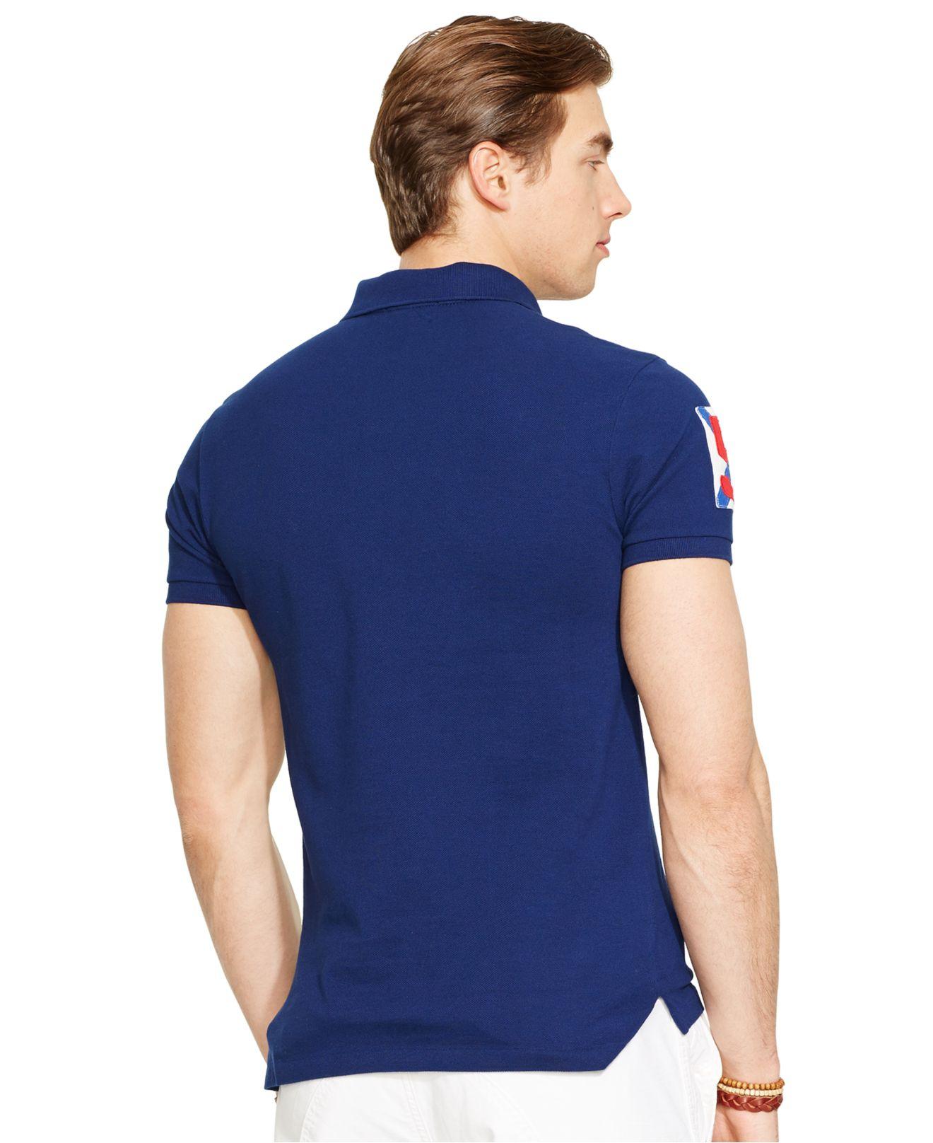 Polo ralph lauren custom fit yacht club mesh polo in blue for Ralph lauren polo club shirts