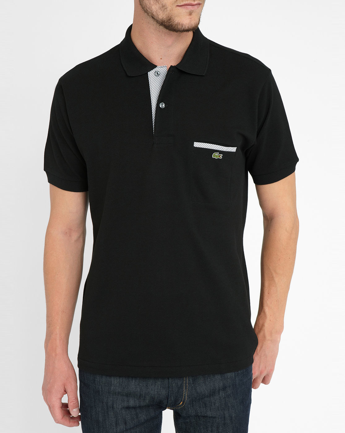 Lacoste black small check contrasting trim pocket short for Short sleeve polo shirt with pocket