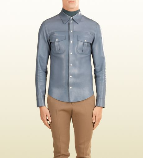 Gucci leather buttondown shirt in blue for men lyst for Mens shirts with snaps instead of buttons