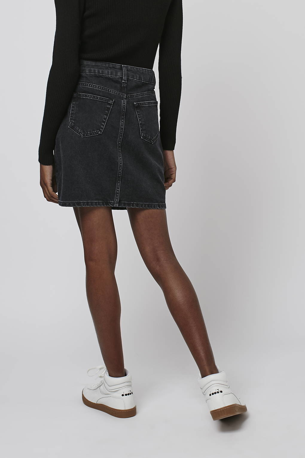 topshop moto high waisted mini skirt in black washed