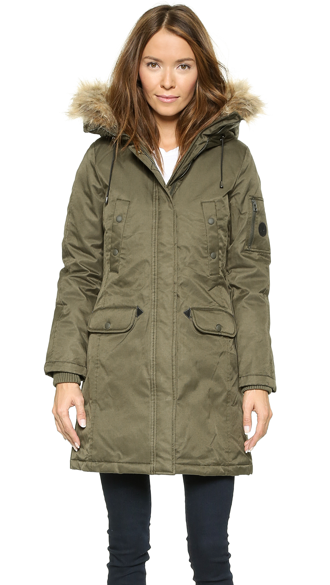 Spiewak Womens Aviation N3-B Faux Fur Parka - Andrea Olive in ...