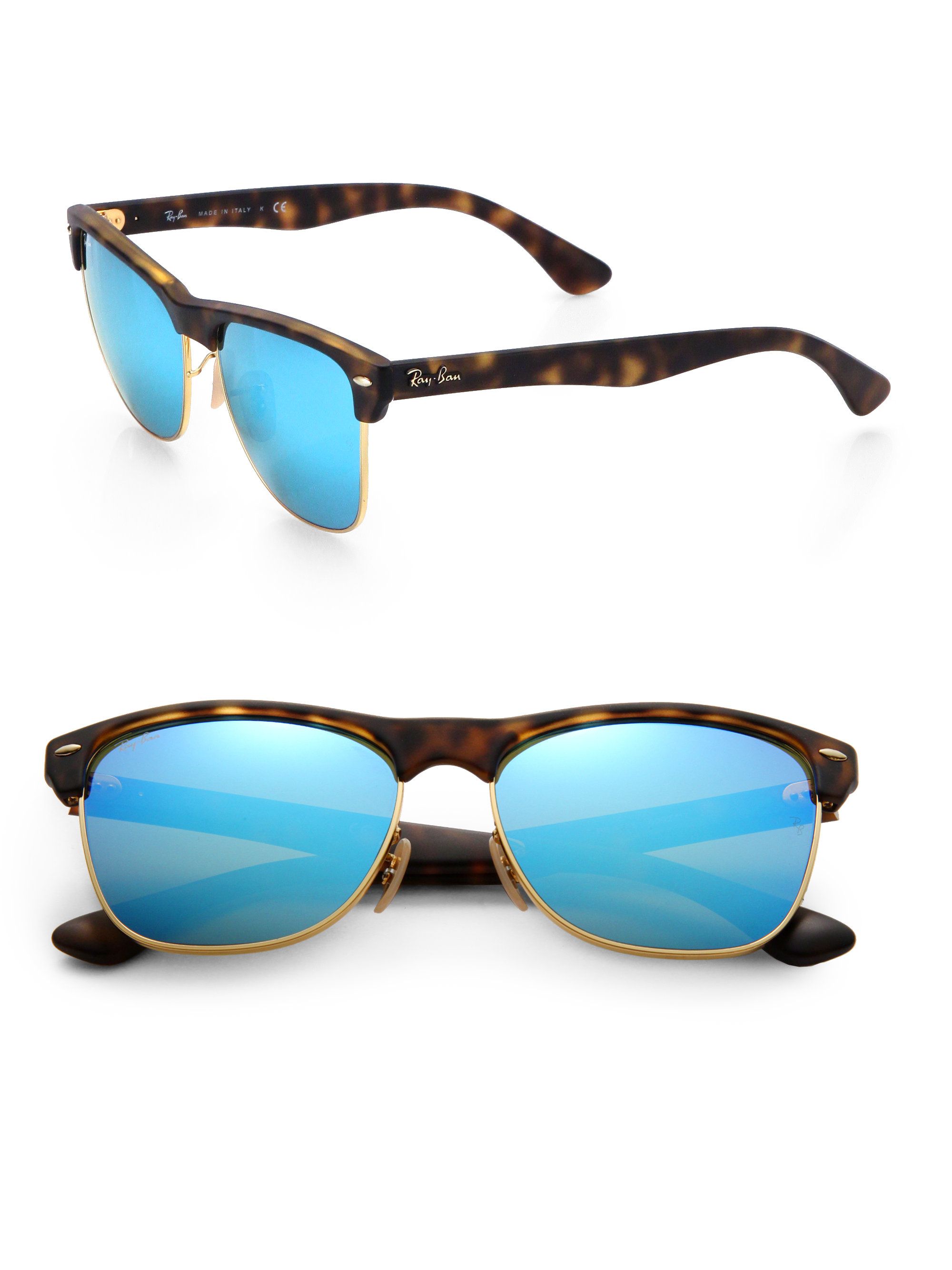 Ray Ban Glasses Frames Blue : Ray-ban Clubmaster Mirrored Lens Sunglasses in Blue for ...