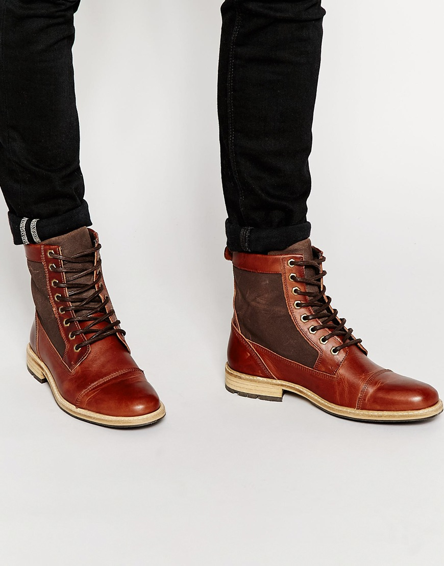 aldo amassa leather boots in brown for lyst