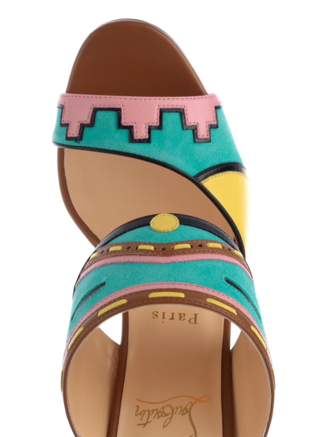christian louis button shoes - Christian louboutin Azunika Suede and Leather Mules in Multicolor ...