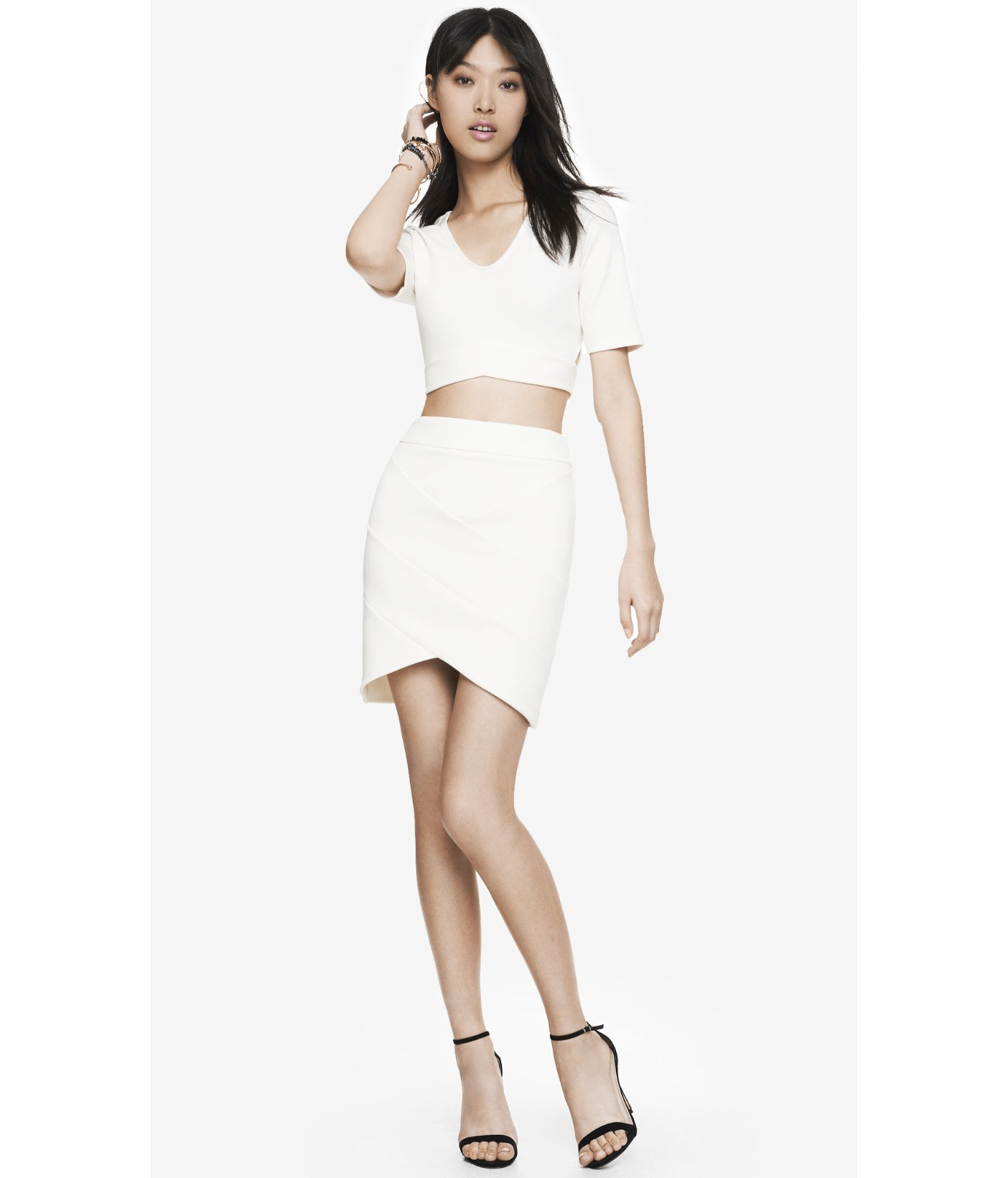 Express High Waist Bandage Mini Skirt in White