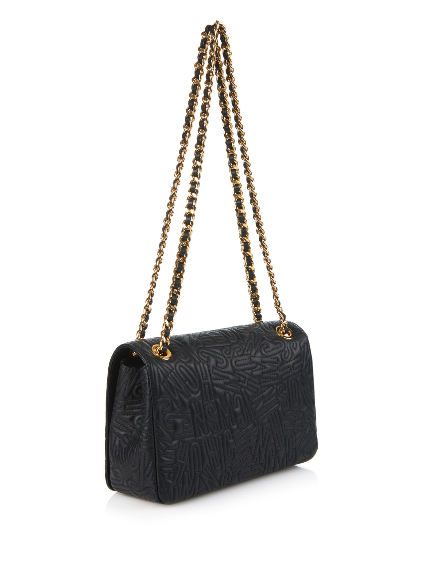 Lyst - Moschino Letter-quilted Leather Shoulder Bag in Black : moschino quilted shoulder bag - Adamdwight.com
