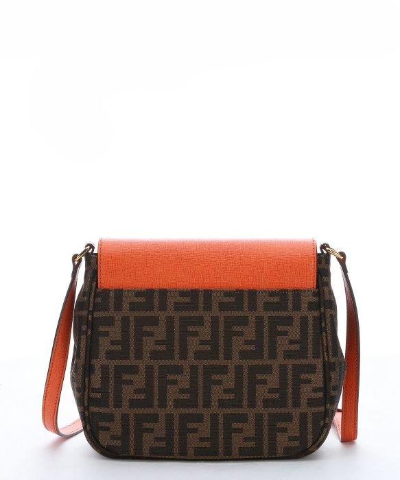 Fendi Tobacco Zucca Canvas And Orange Leather Crossbody Bag in . de7c9952f3c87