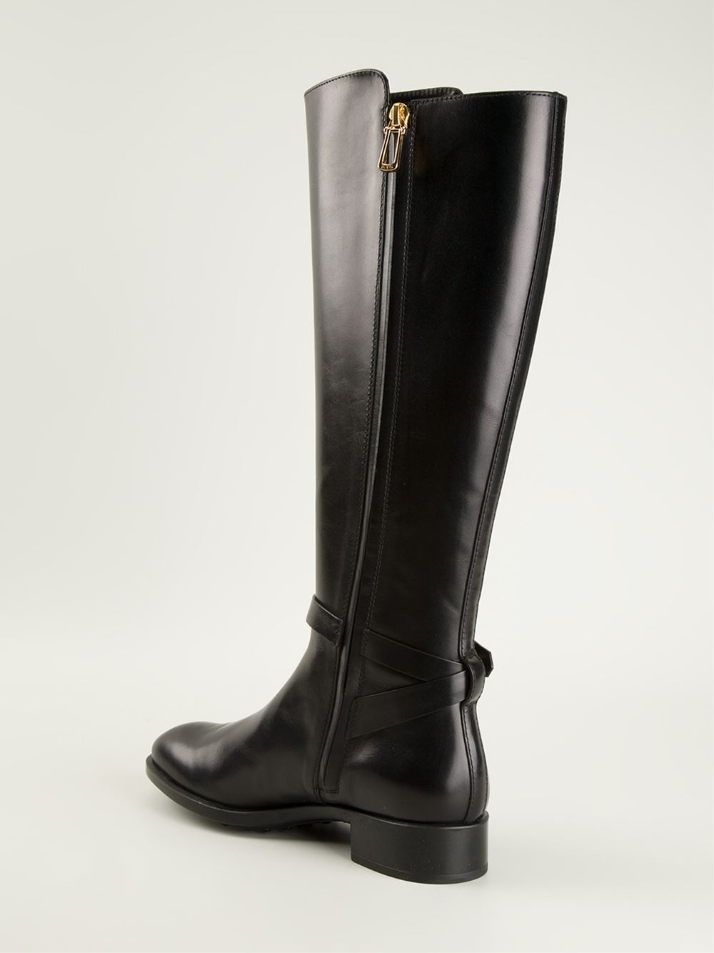 Tod's Midcalf Riding Boots in Black | Lyst
