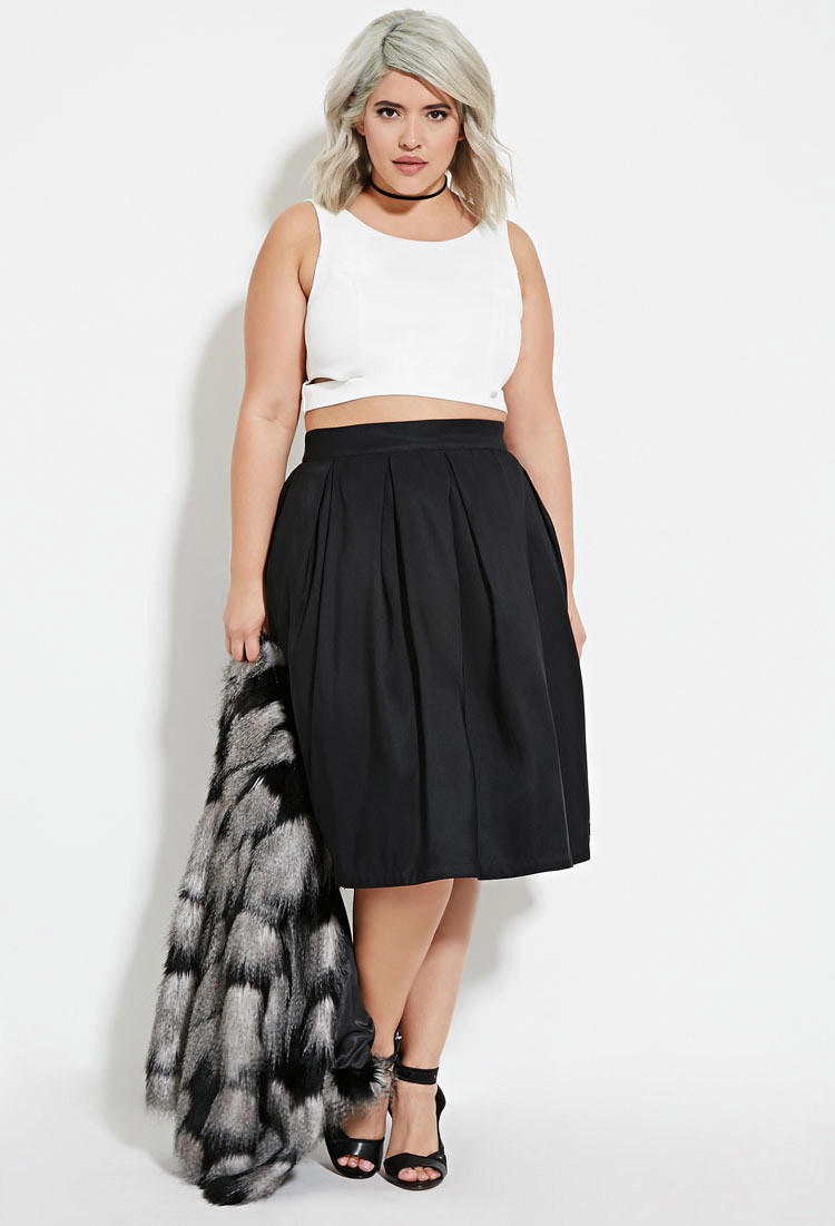 Forever 21 Plus Size Pleated A-line Skirt in Black | Lyst