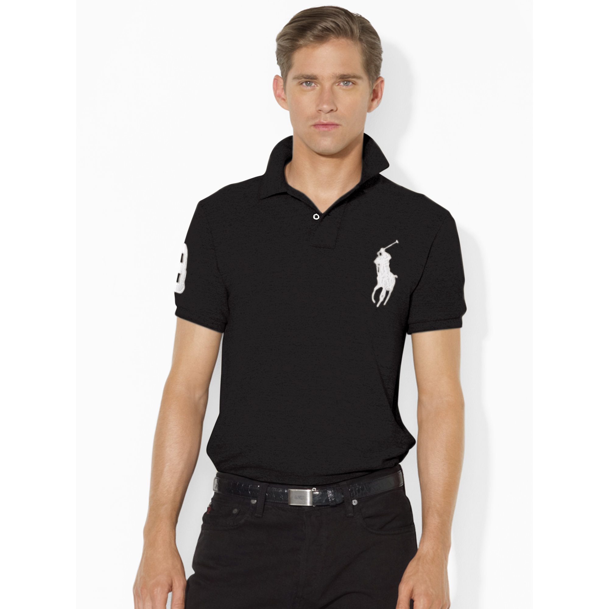 94172d6aa Polo Ralph Lauren Slim-fit Polohemd Mit Big Pony in Black for Men - Lyst