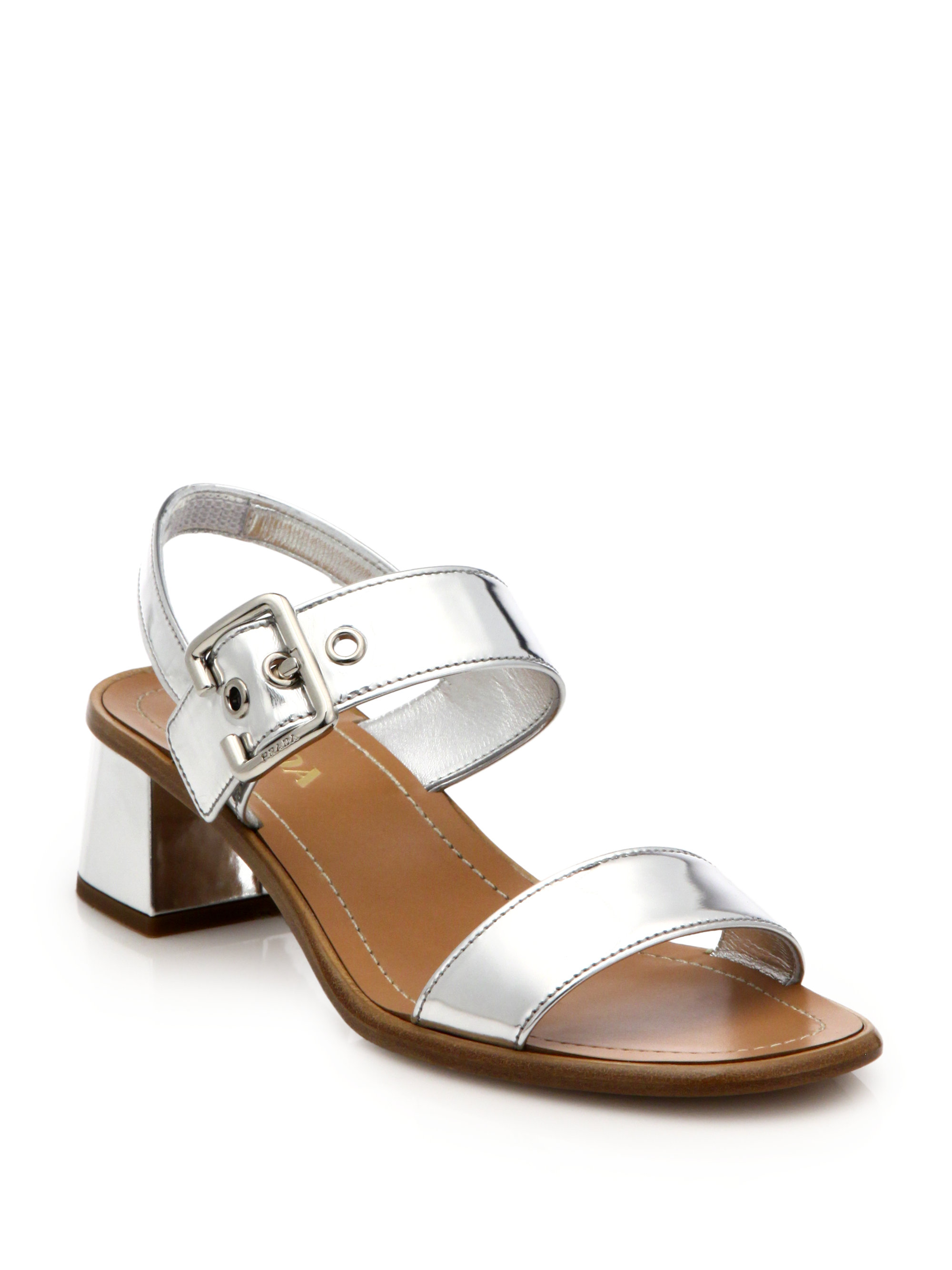 Prada 80MM METALLIC LEATHER SANDALS Discount The Cheapest Cheapest Browse Online HUIHYC