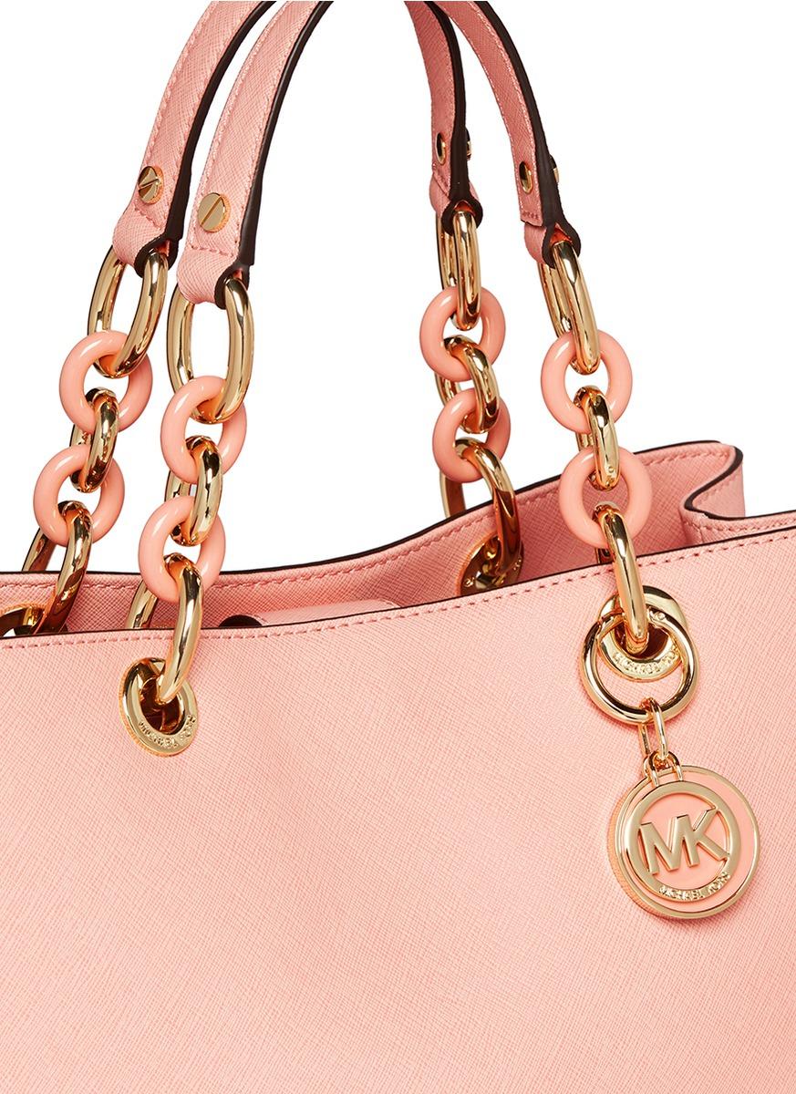 61c3f2a5181c ... order lyst michael kors cynthia medium saffiano leather satchel in pink  4a810 18107