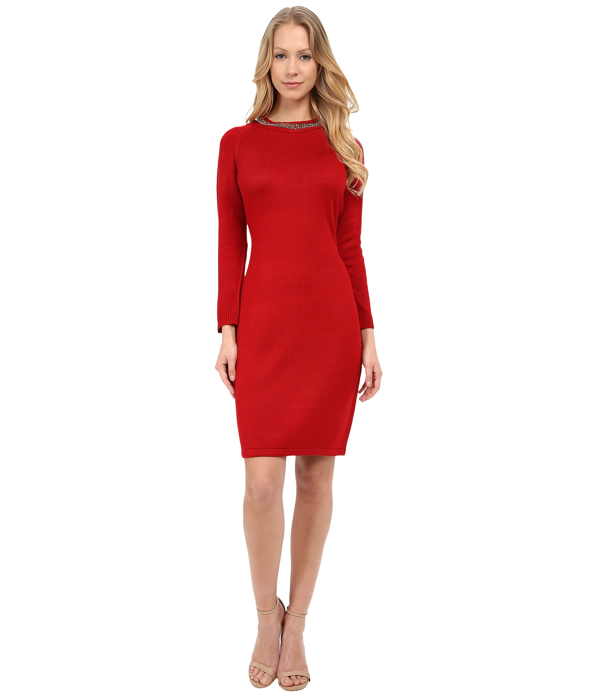 Long red calvin klein dress