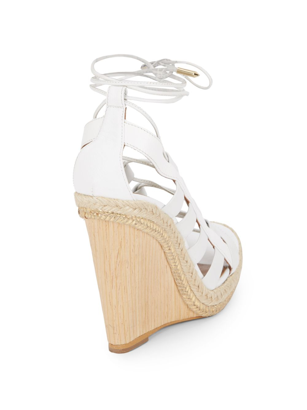 7f9144efa521 Lyst - Aquazzura Amazon Wooden-wedge Lace-up Leather Sandals in White