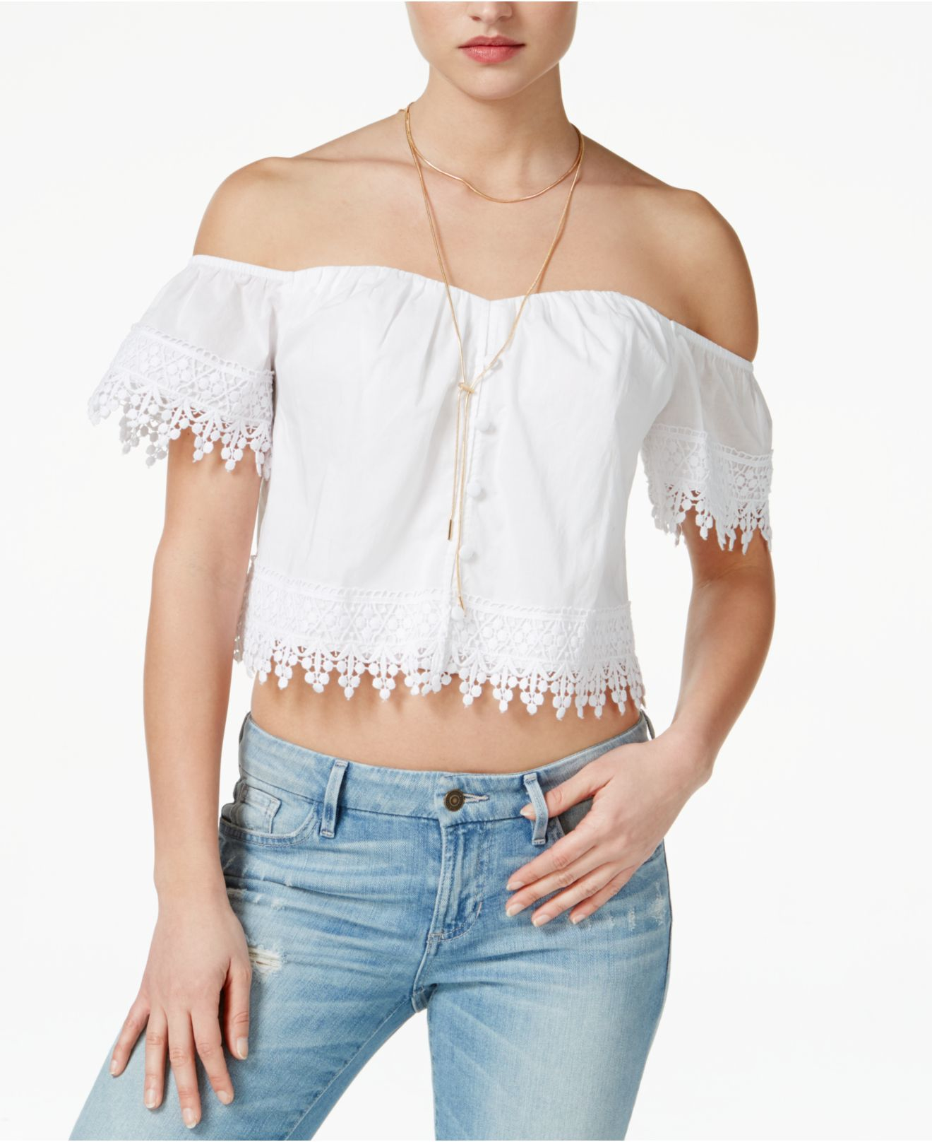 096bd65462318 Lyst - Guess Emma Eyelet Off-the-shoulder Top in White