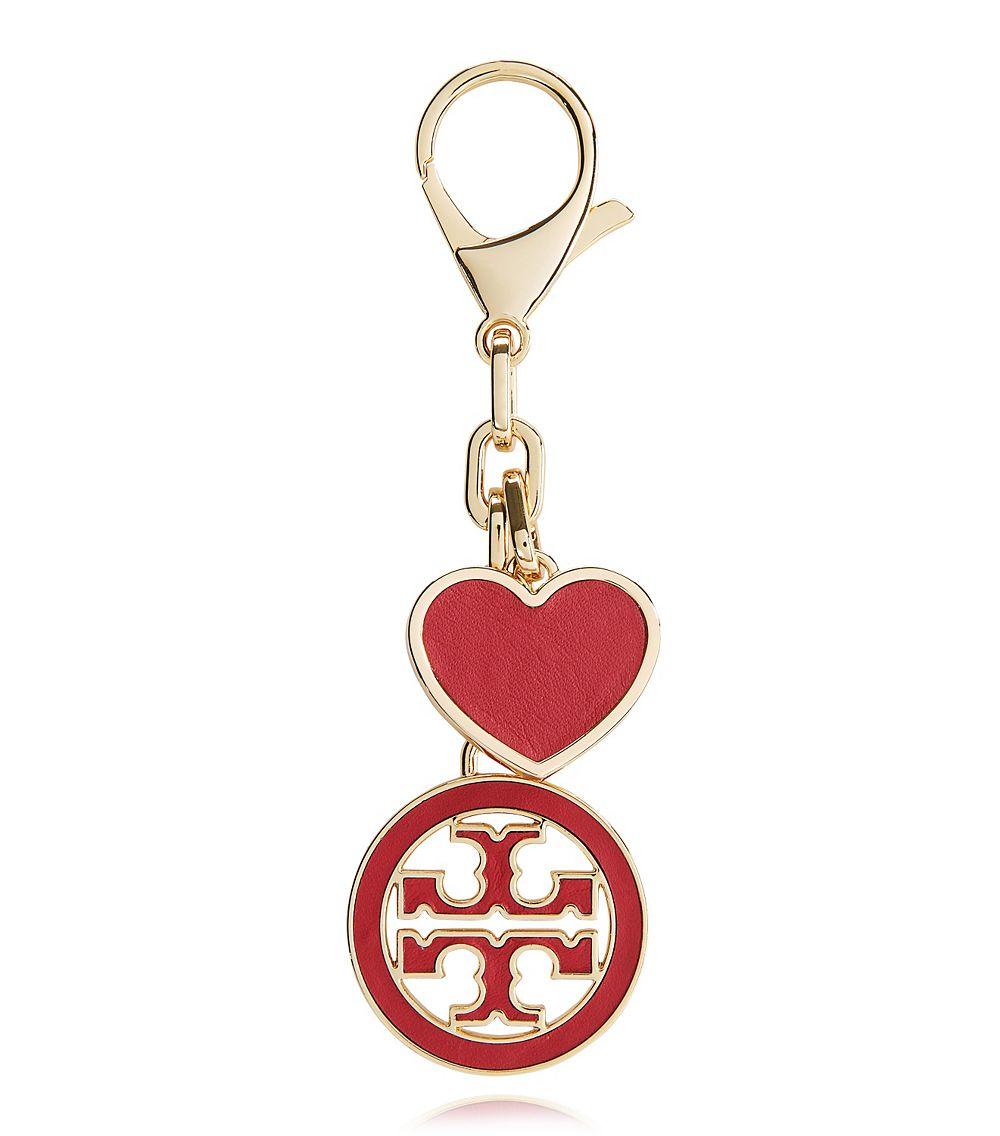 3b773652ded6 Lyst - Tory Burch Logo Heart Key Fob in Red