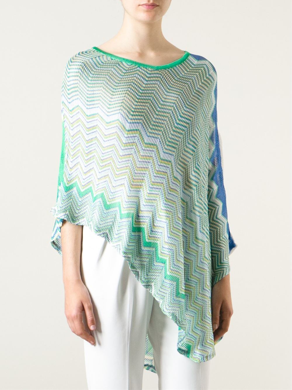 M Missoni Zig Zag Crochet Asymmetric Poncho In Green Lyst