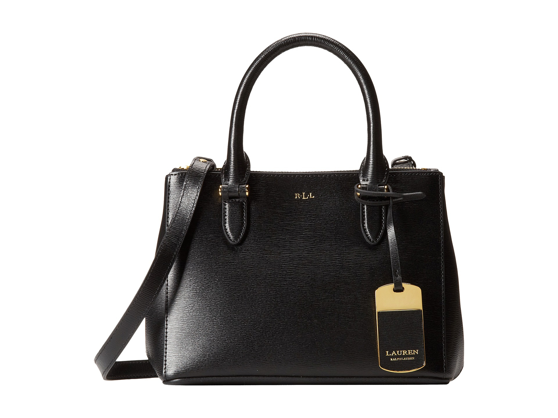 58127bbef422 Lyst - Lauren by Ralph Lauren Newbury Mini Double Zip Satchel in Black