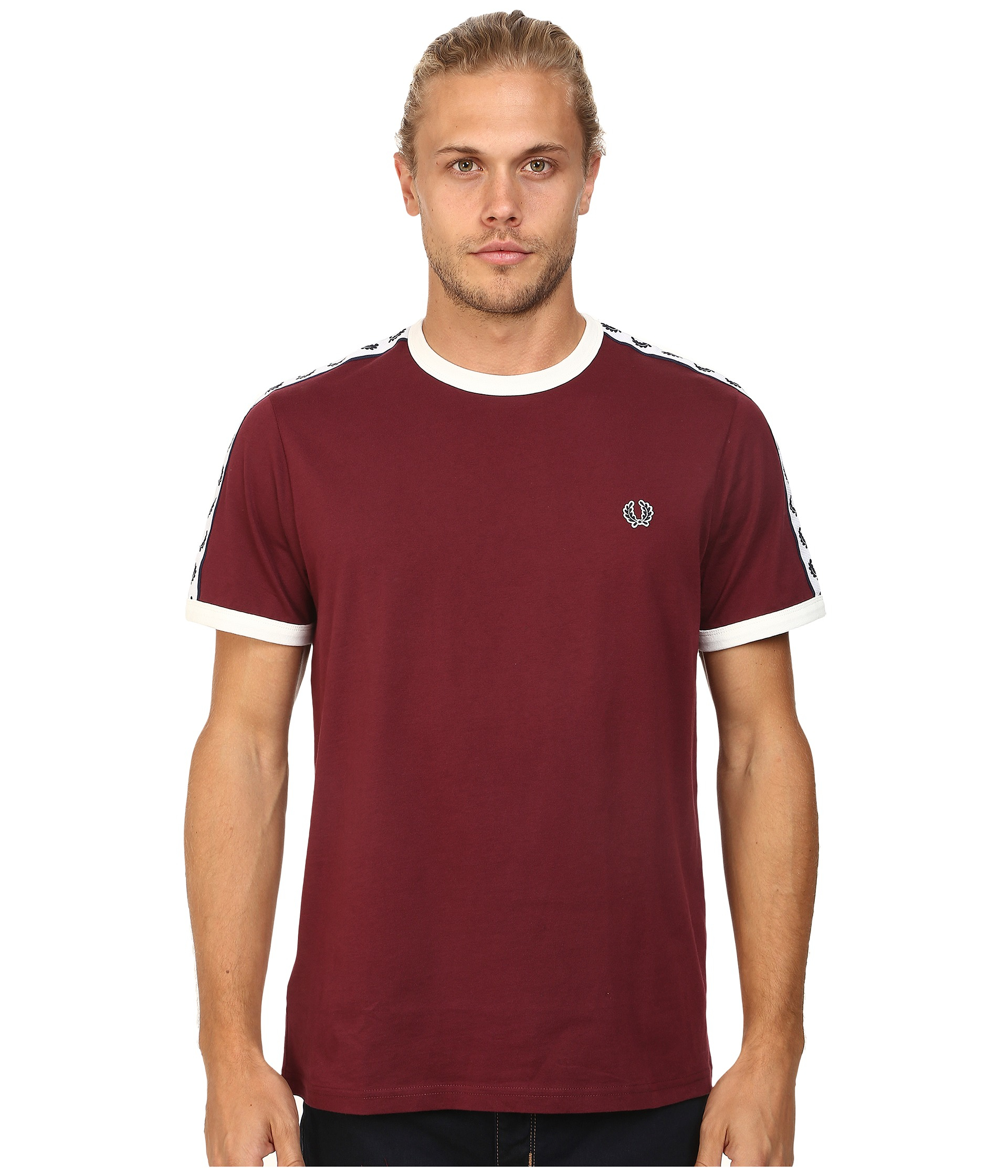 fred perry taped ringer t shirt in red for men port lyst. Black Bedroom Furniture Sets. Home Design Ideas