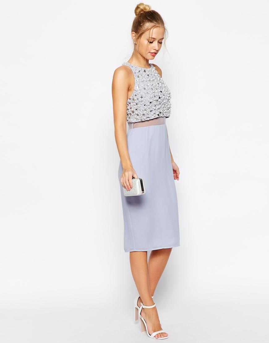 f1e72e9da3 ASOS Pearl Embellished Crop Top Midi Dress in Blue - Lyst