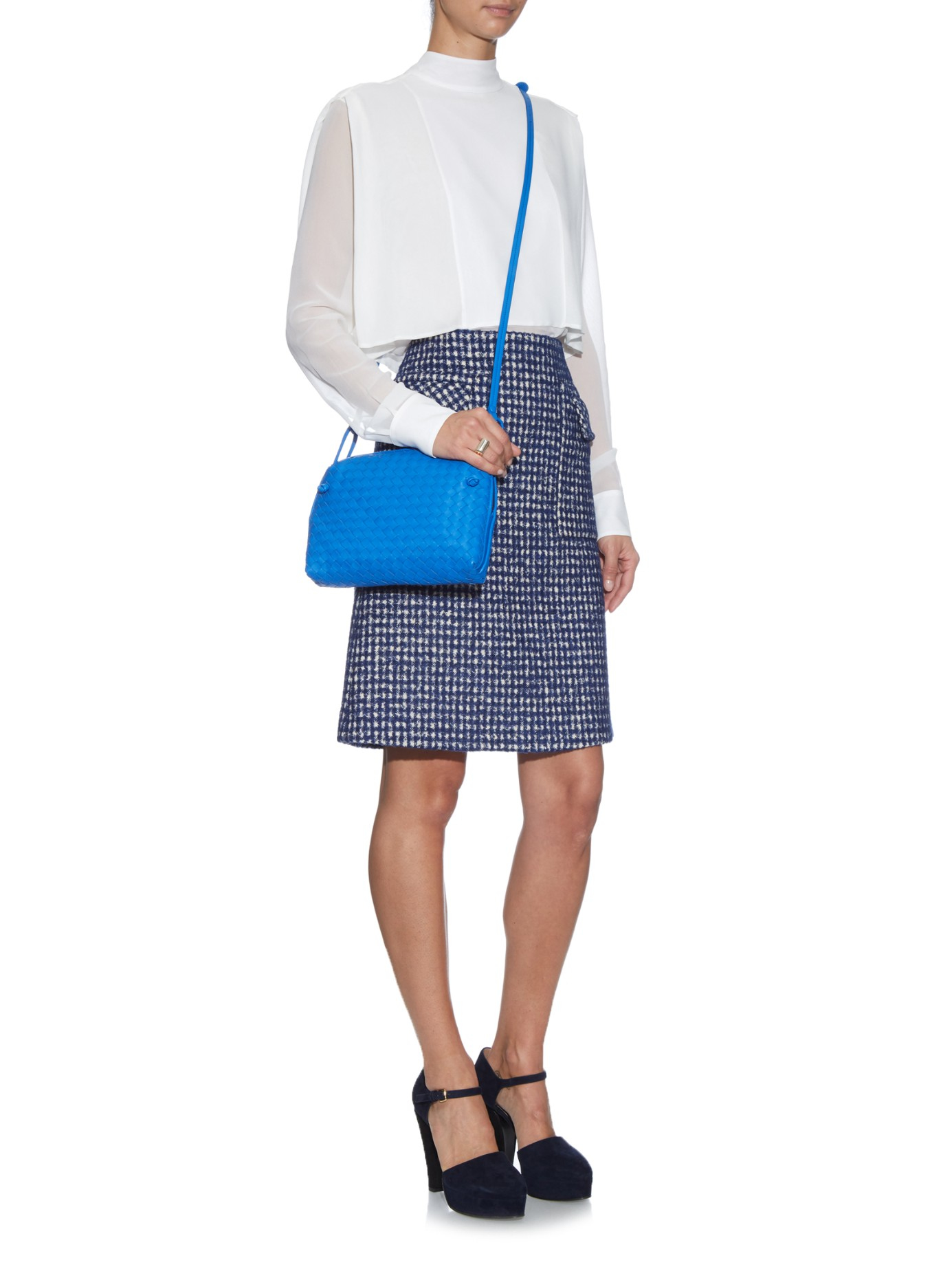 2b8668717f Bottega Veneta Nodini Intrecciato Leather Cross-Body Bag in Blue - Lyst