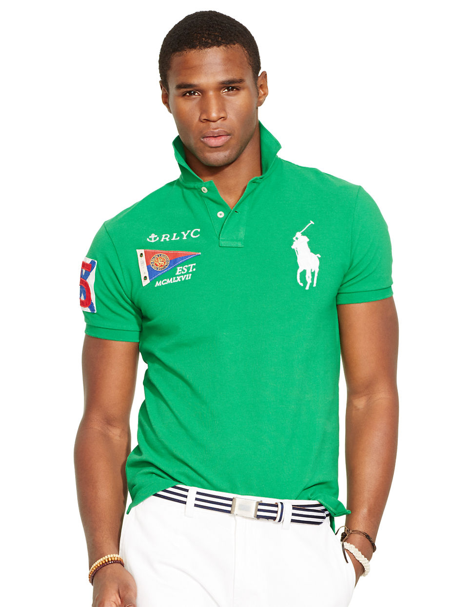 Polo ralph lauren custom fit yacht club mesh polo shirt in for Ralph lauren custom fit mesh polo shirt