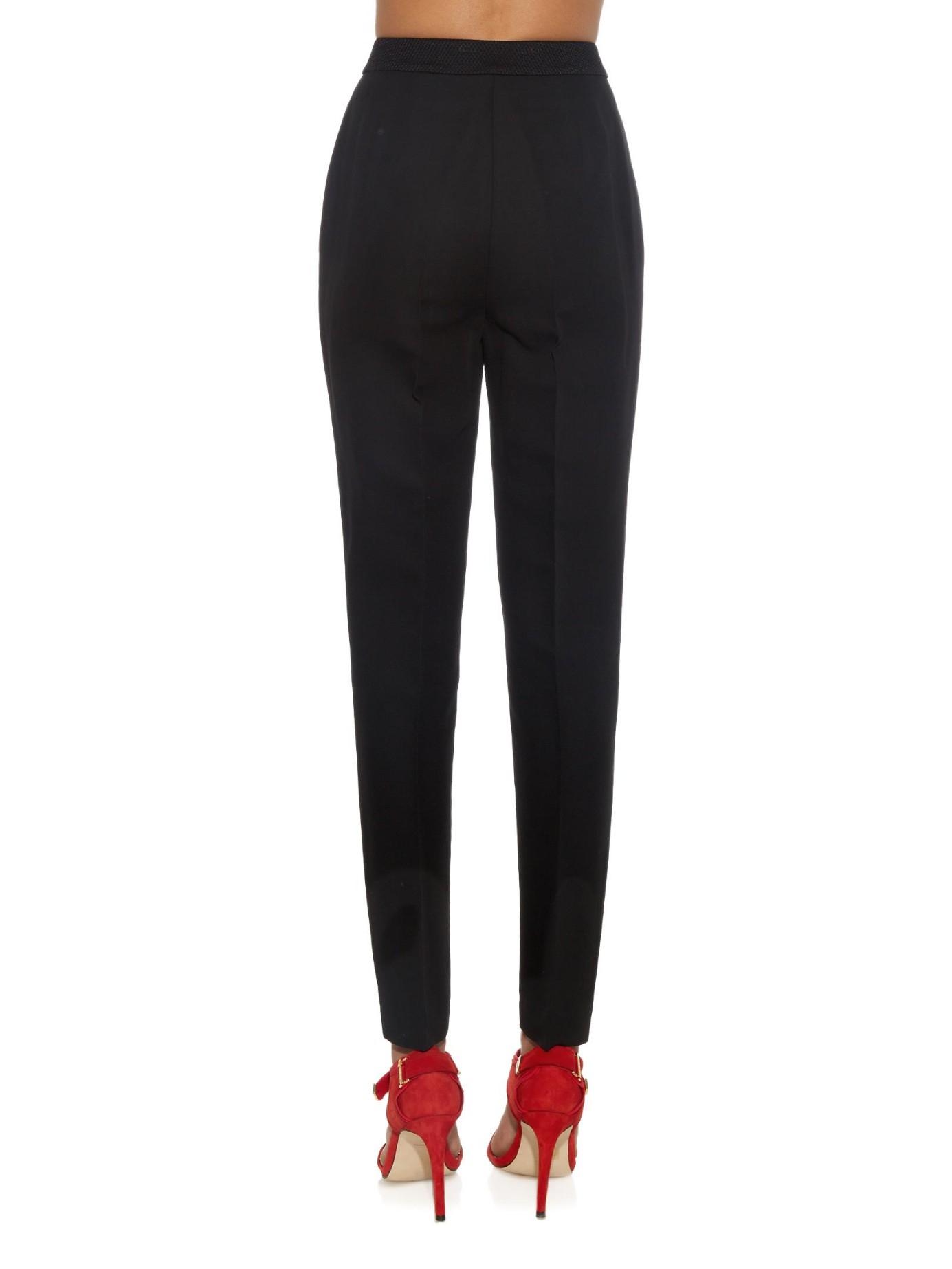 size 40 fine quality pretty cheap Alexander Wang Black High-Waist Leather-Trim Trousers