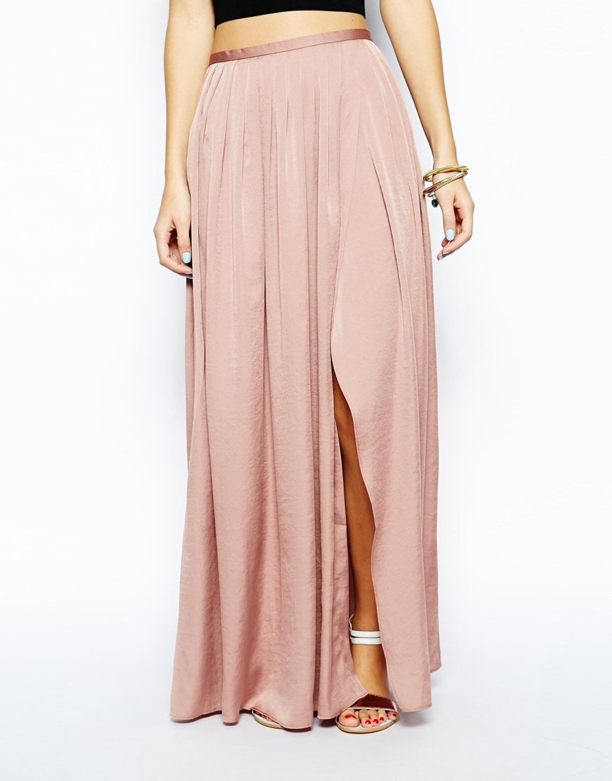 45aac50e81 ASOS Soft Split Maxi Skirt in Pink - Lyst