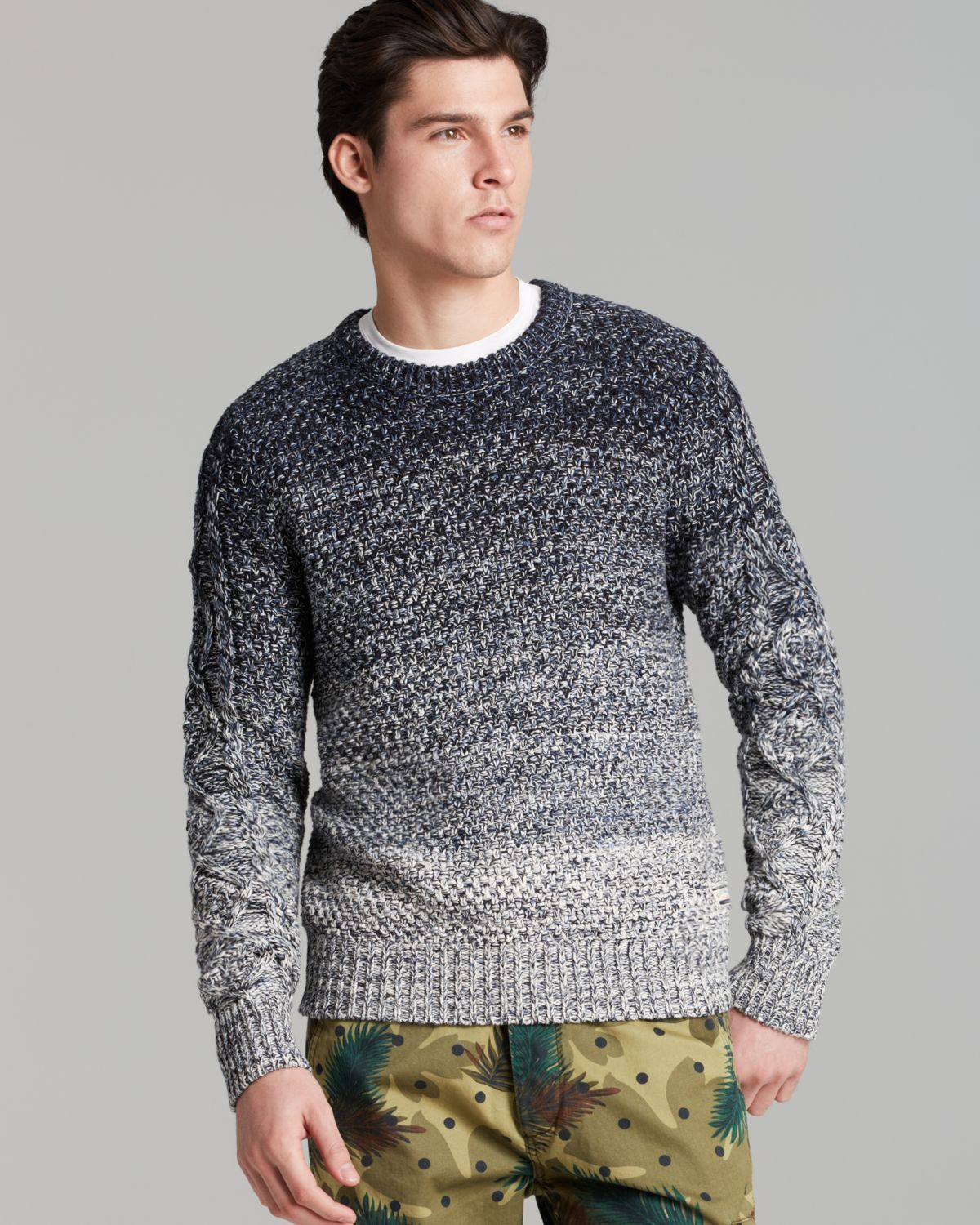 Knitting Patterns For Mens Half Sweaters : Scotch & soda Ombre Cable Knit Sweater in Gray for Men Lyst