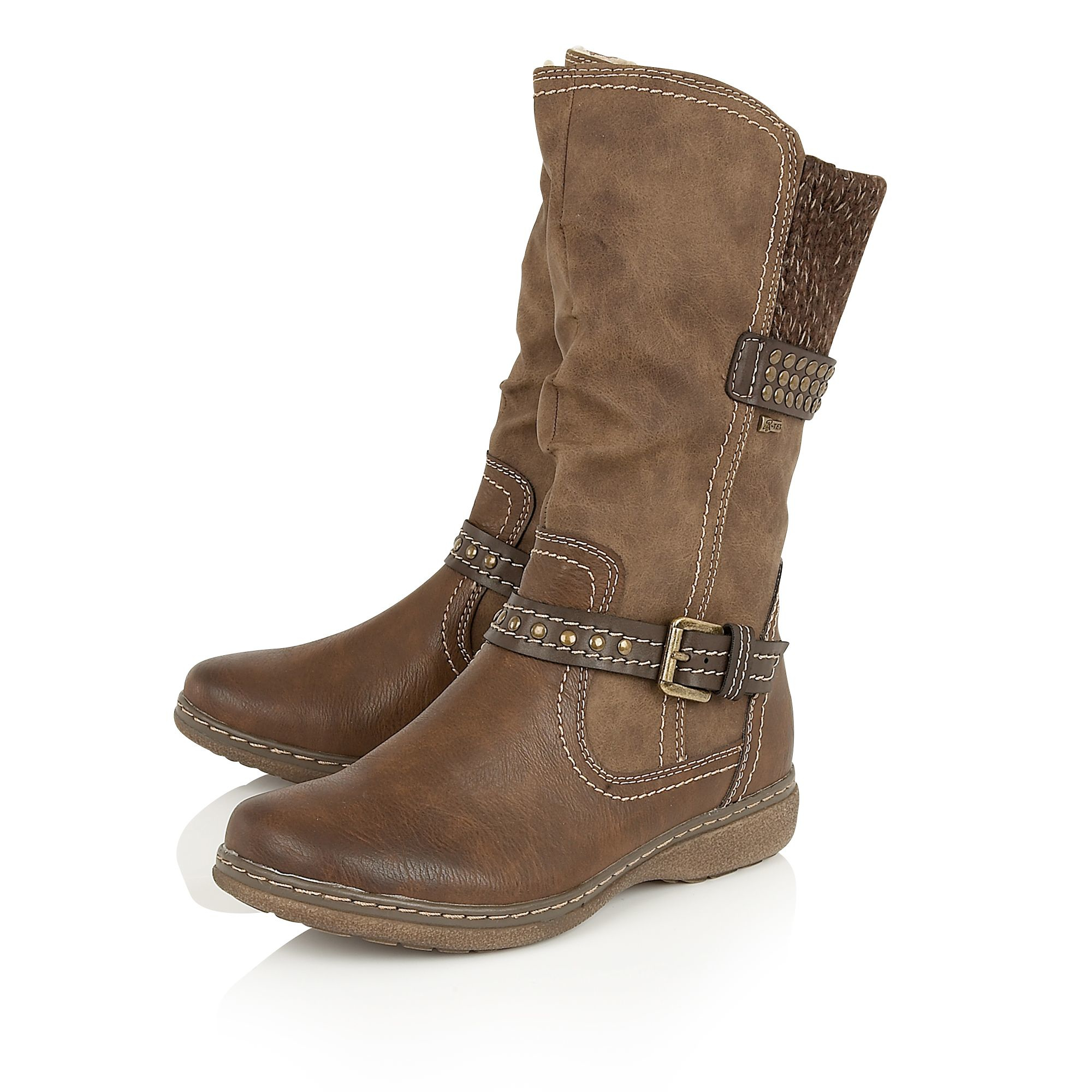 lotus hilarie mid calf boots in brown lyst