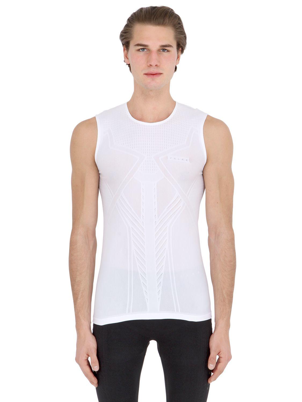 Lyst falke singlet sleeveless running t shirt in white for Singlet shirt for mens