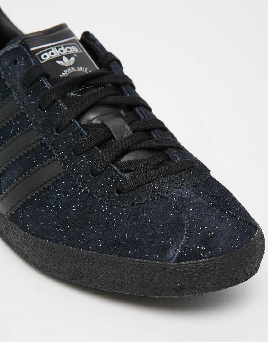 Adidas Originals Originals Top Ten Low Sneaker In Black: Adidas Originals Originals Glitter Suede Black