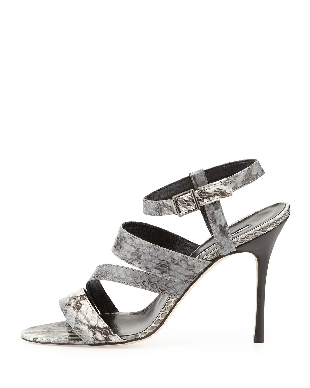0fb566a7f2318e Lyst - Manolo Blahnik Felix Strappy Snakeskin Sandal in Gray