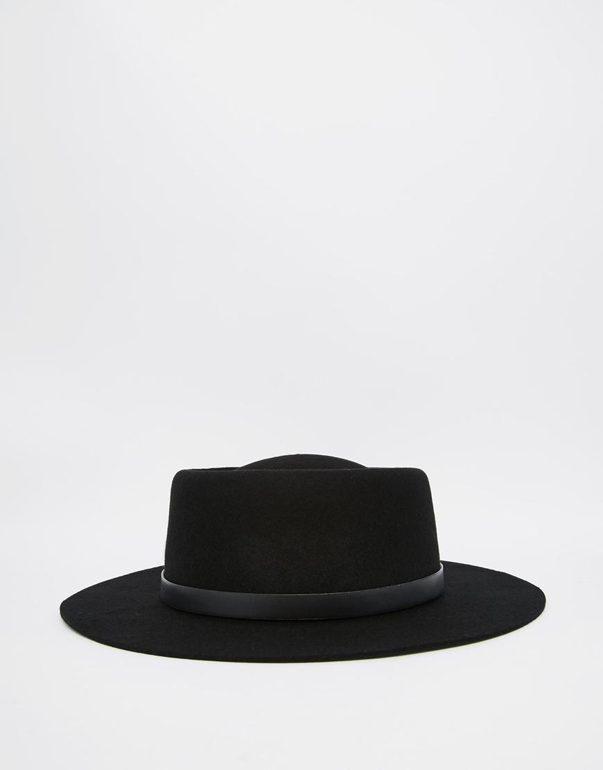 Lyst - ASOS Pork Pie Hat In Black With Wide Brim in Black for Men 60602e50780