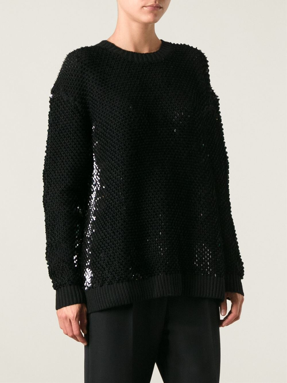 Mcq Sequin Embellished Sweater in Black | Lyst