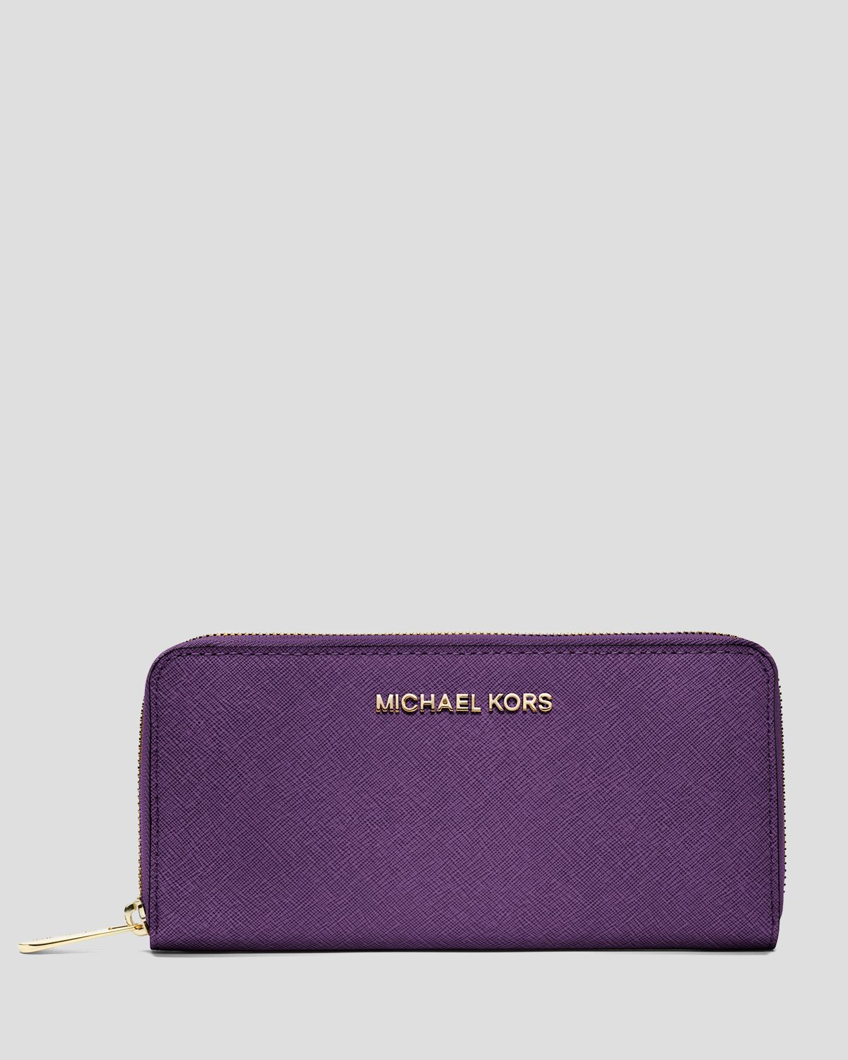 5ed1ce3f102f79 Lyst - MICHAEL Michael Kors Wallet Saffiano Zip Around Continental in Purple