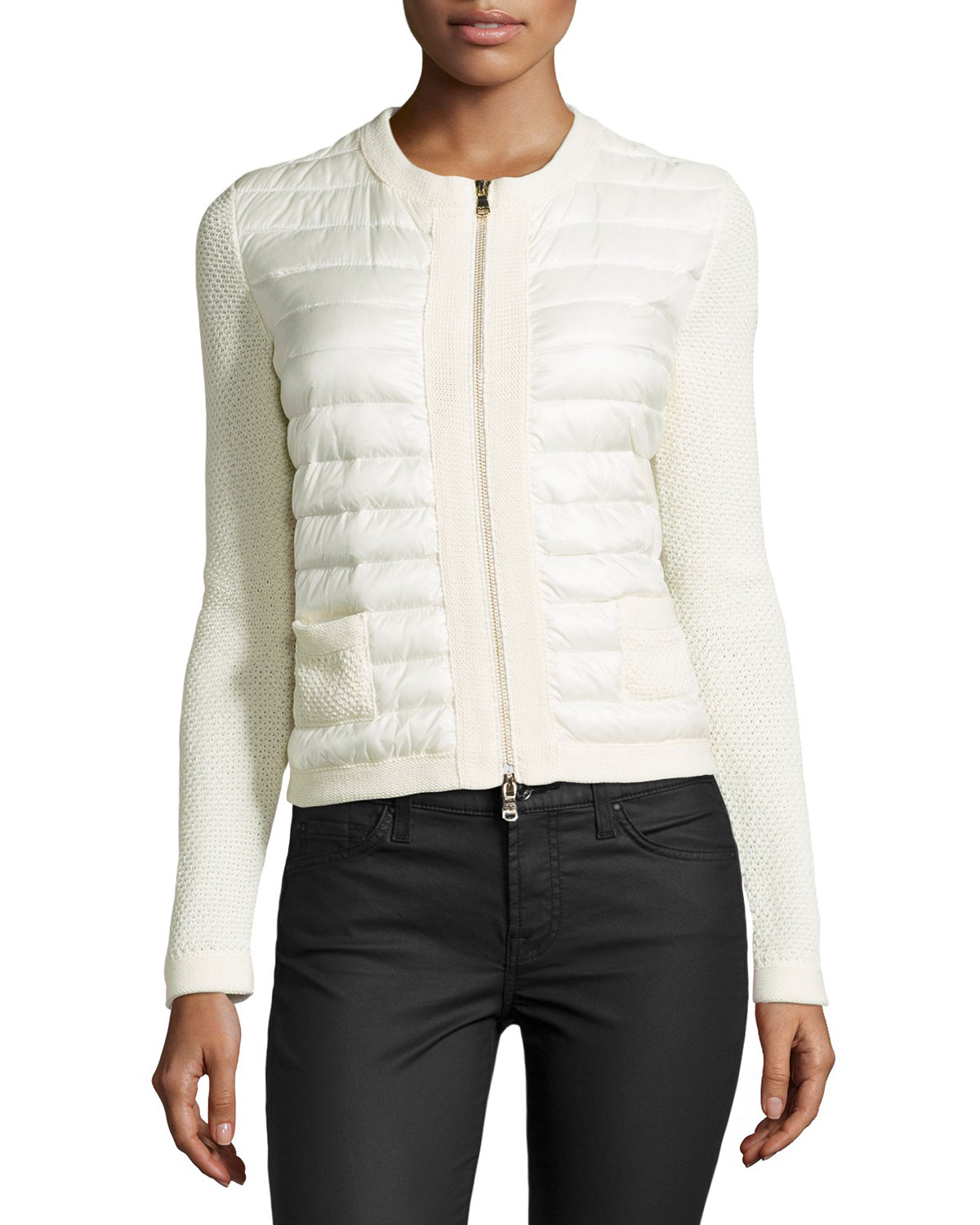 Moncler Zip-front Puffer Cardigan in White | Lyst