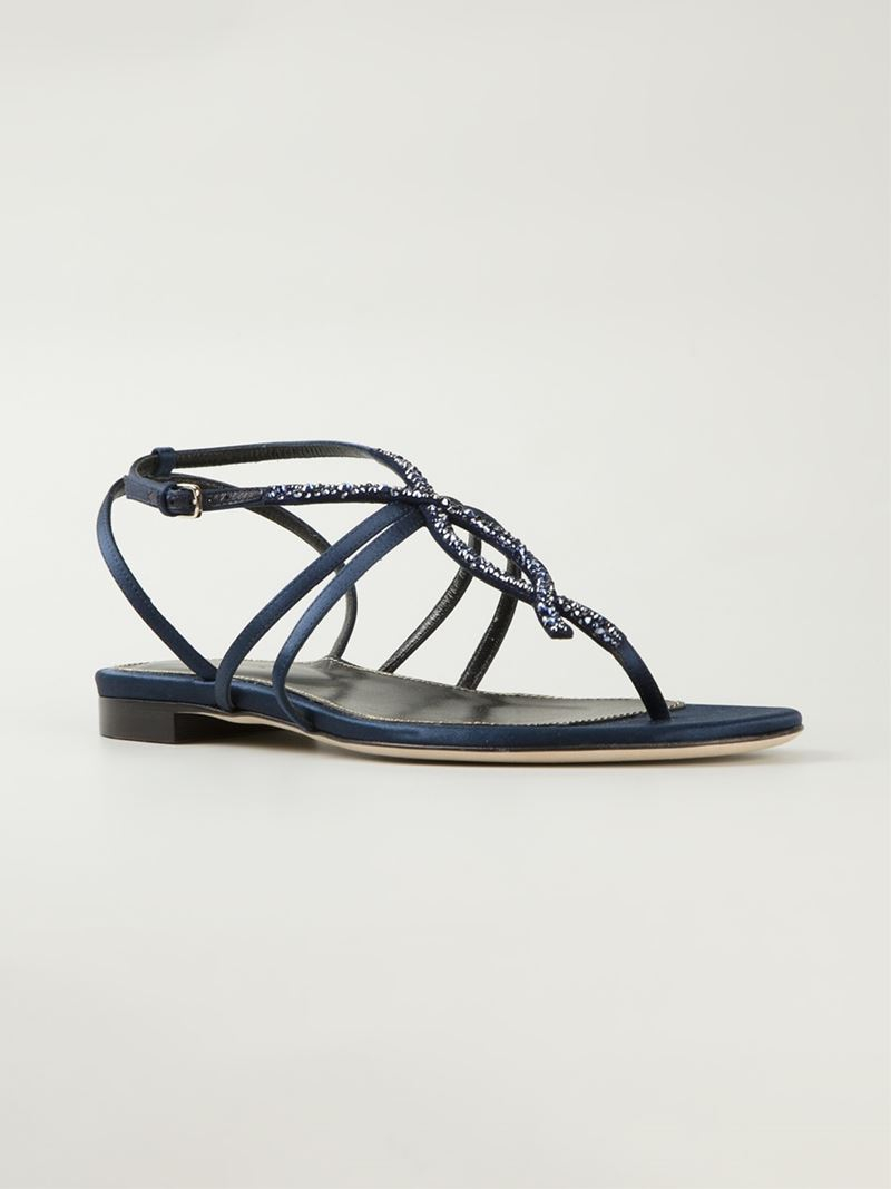 6bc156241d146 Lyst - Sergio Rossi Embellished Flat Sandals in Blue