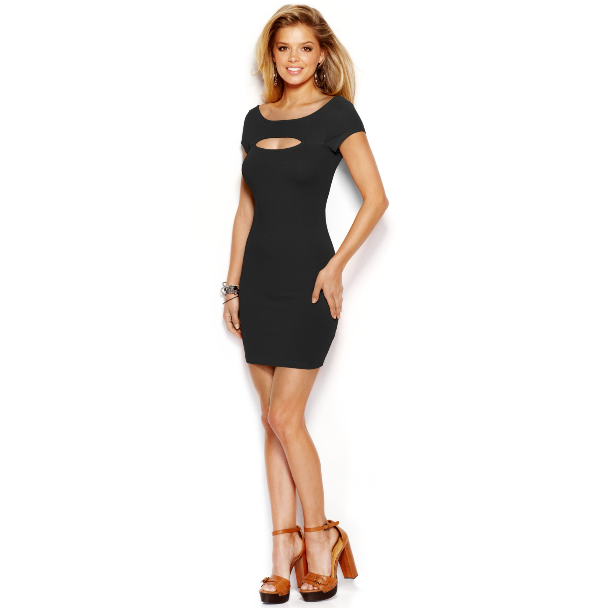 Lyst Guess Shortsleeve Cutout Bodycon Dress In Black