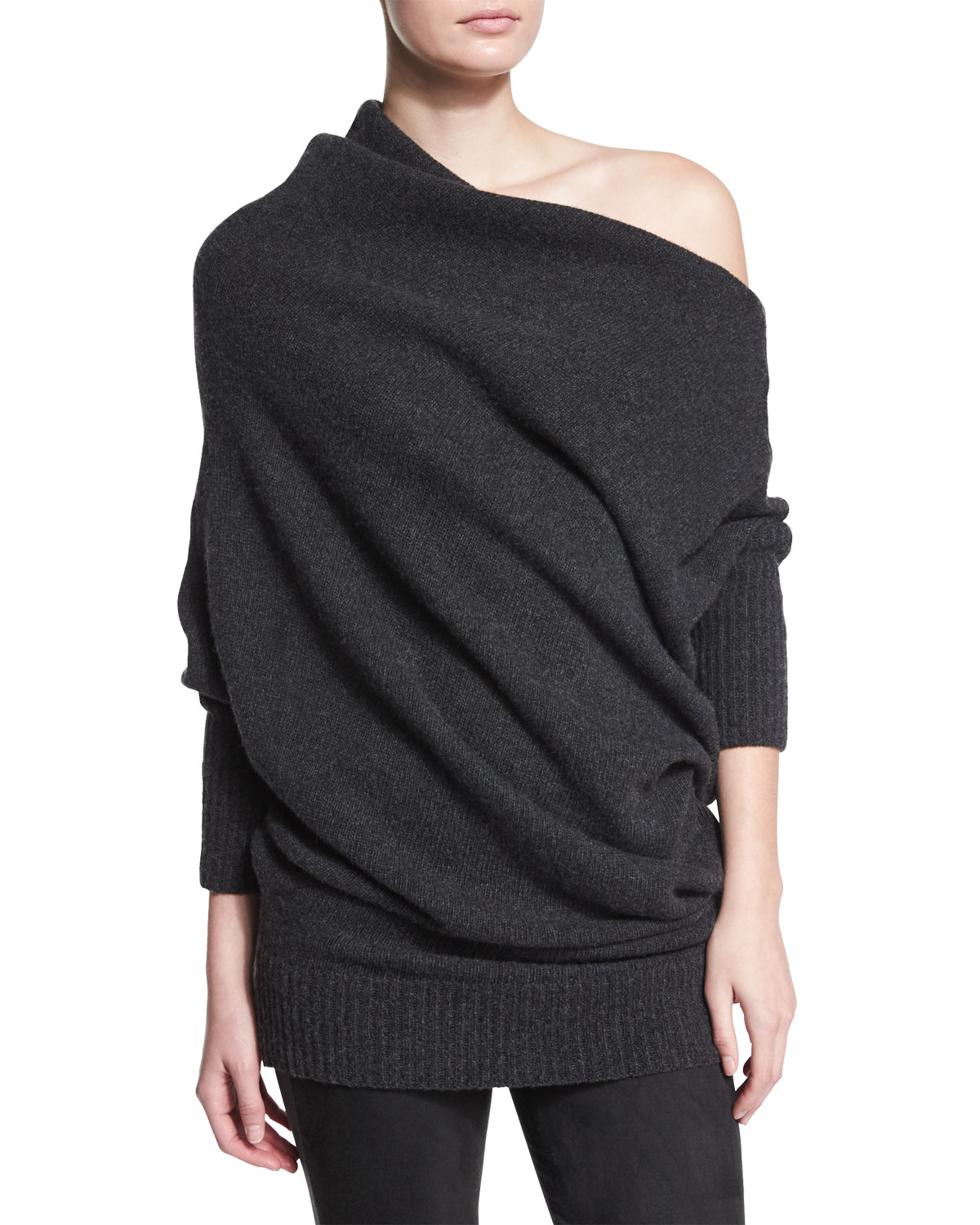 Donna karan Off-the-shoulder Cashmere Sweater in Gray | Lyst