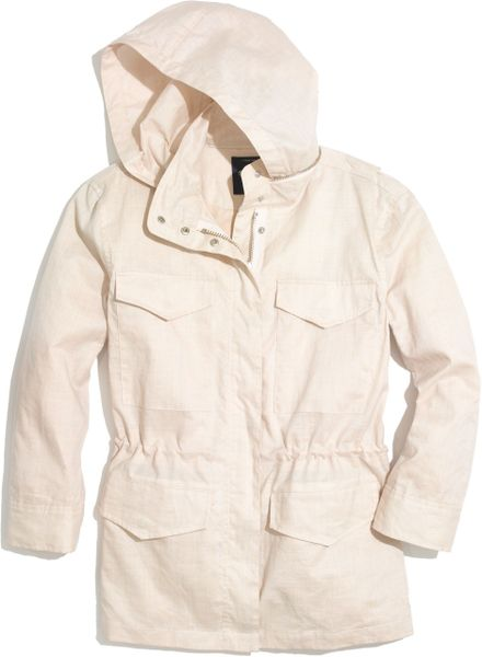 Madewell Waxed Military Anorak In Beige Vintage Canvas