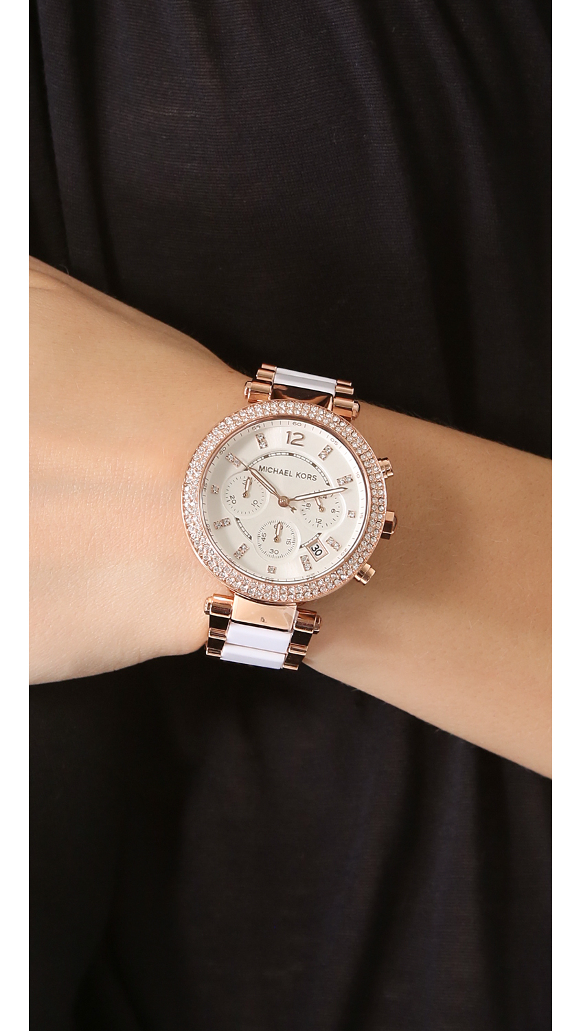 michael kors parker glitz chronograph watch white rose gold in white lyst. Black Bedroom Furniture Sets. Home Design Ideas