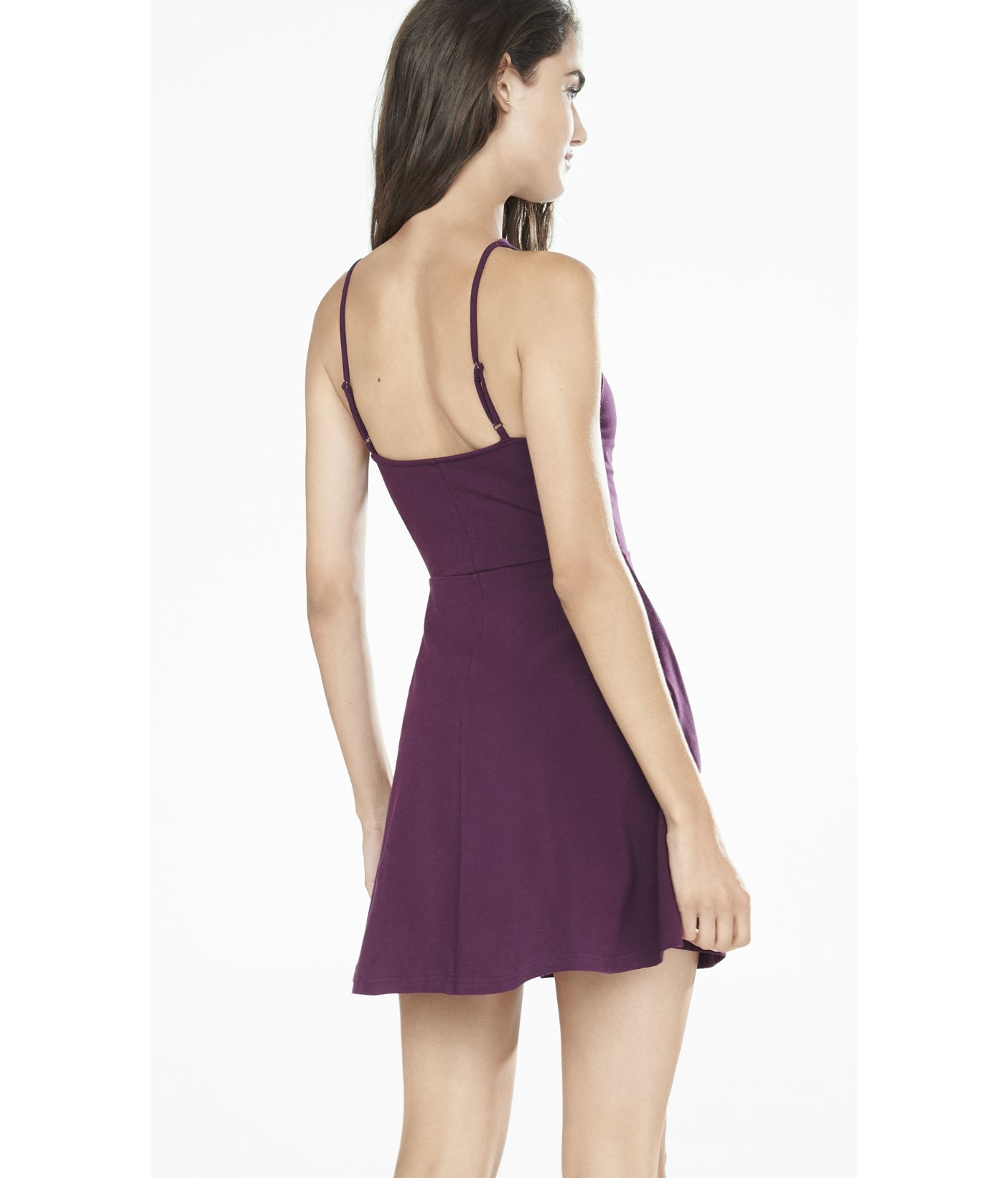 Lyst - Express Strappy Front Skater Dress in Purple
