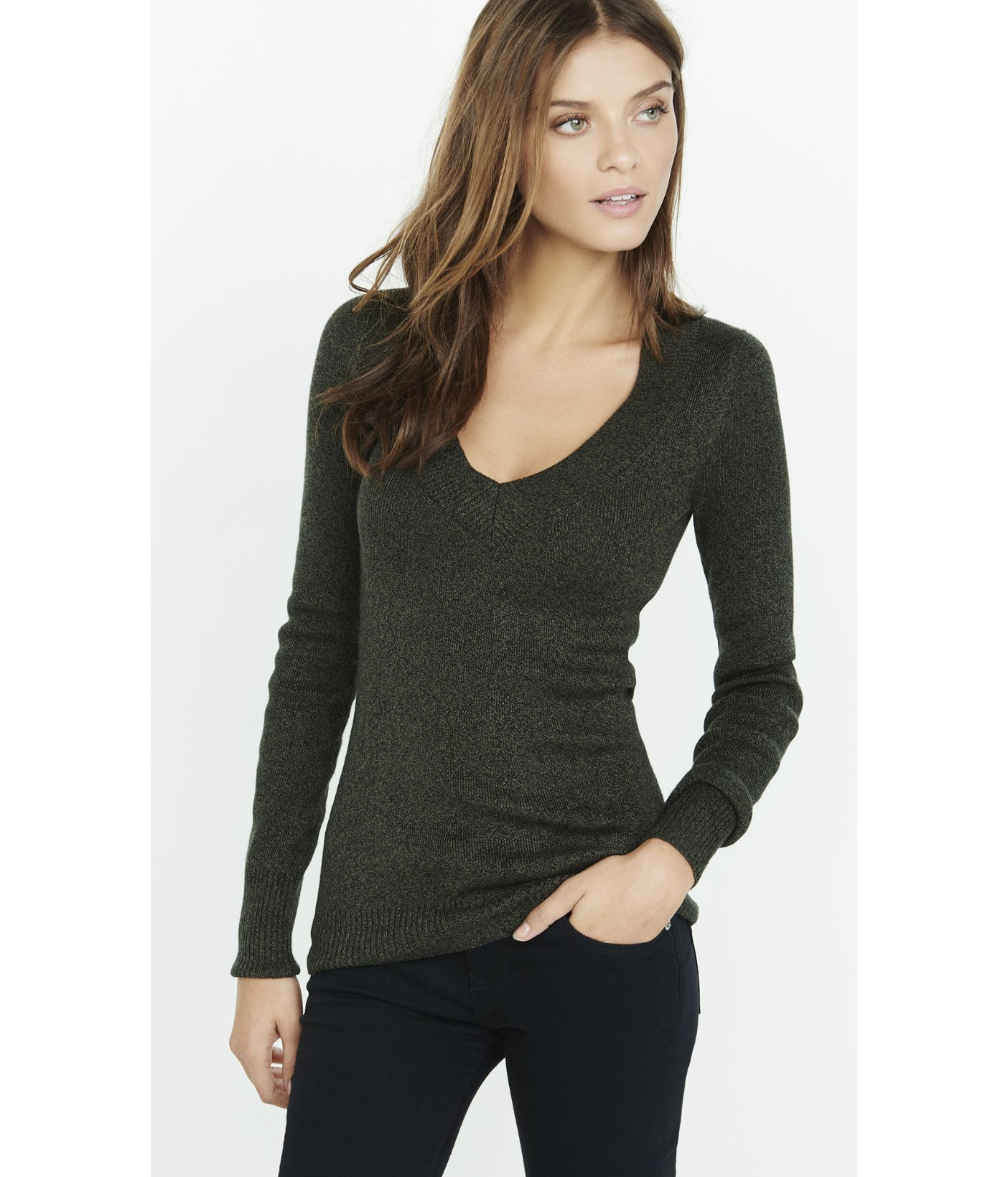Express Marl Fitted V-neck Sweater in Green | Lyst