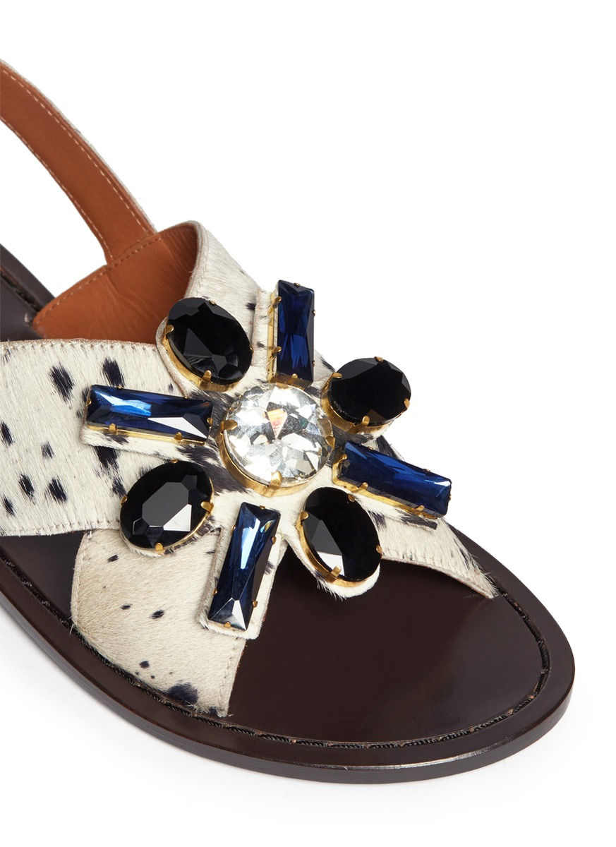 for nice Marni Embellished Ponyhair Sandals tumblr cheap price factory outlet best GNC4KF